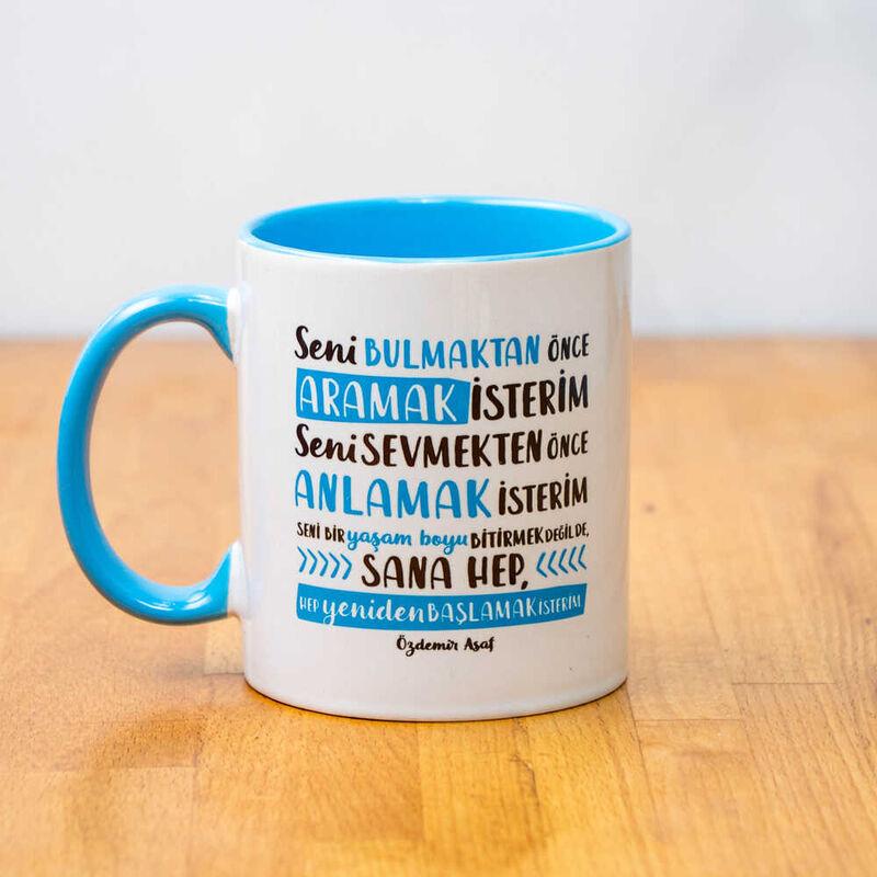 Özdemir Asaf Akıl Gözü Porselen Kupa | Mavi
