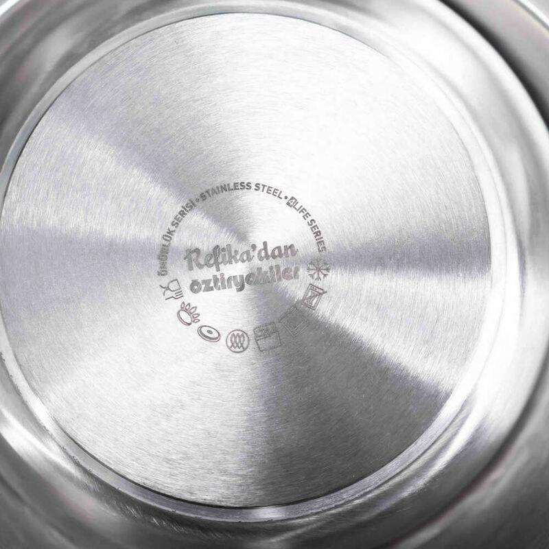 Ömürlük Serisi Paslanmaz Çelik 10 Parça Tencere - Tava Çeyiz Seti