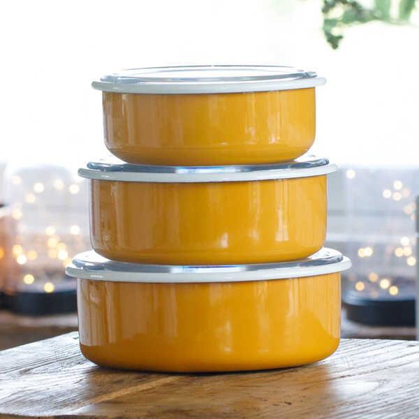 Sarı 3'lü Sakla, Pişir, Sun, Ye Kapları