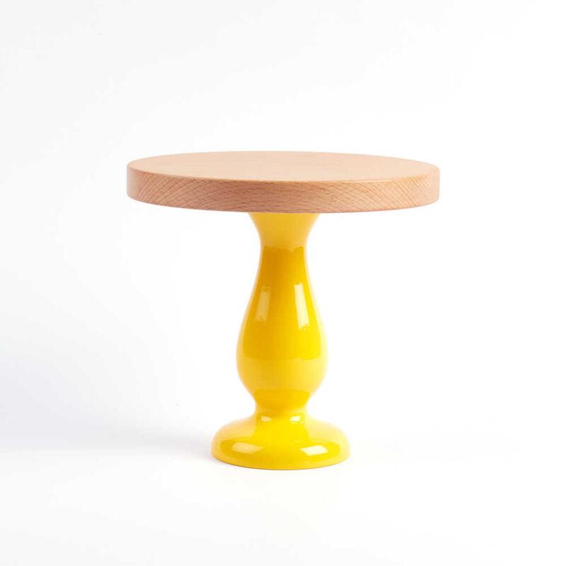Ahşap Ayaklı Sarı Kek Standı | 20 cm