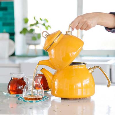 Sarı Emaye Çaydanlık - Thumbnail