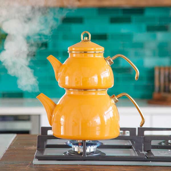 Sarı Emaye Çaydanlık