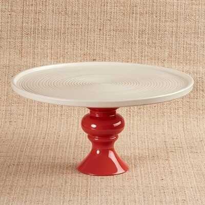 Seramik Tabaklı Kırmızı Sunum Standı   30 cm - Thumbnail