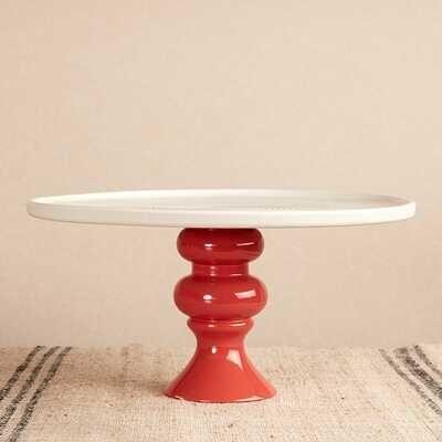 Seramik Tabaklı Kırmızı Sunum Standı   30 cm
