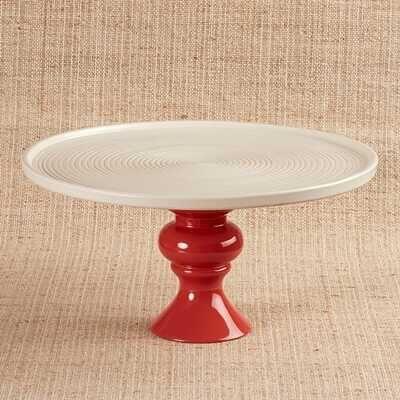 Seramik Tabaklı Kırmızı Sunum Standı | 30 cm