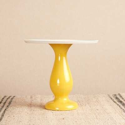 Seramik Tabaklı Sarı Sunum Standı | 19,5 cm