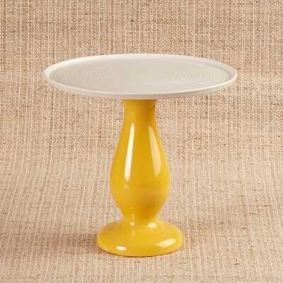 Seramik Tabaklı Sarı Sunum Standı   19,5 cm