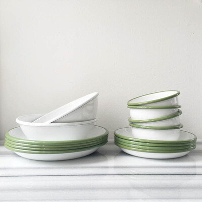 Yeşil Beyaz Emaye Yemek Seti - Thumbnail