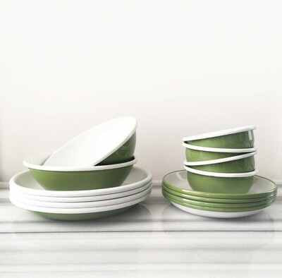 Yeşil Emaye Yemek Seti - Thumbnail