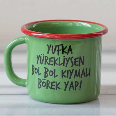 Yufka Yürek, Kıymalı Börek Emaye Kupa - Yeşil - Thumbnail
